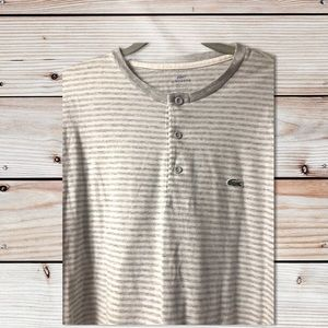 Lacoste Short Sleeve Gray Striped Henley Neck Top